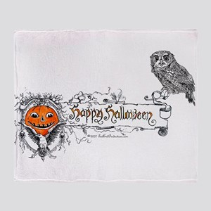 Halloween Owl Throw Blanket