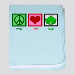 Peace Love Frogs baby blanket