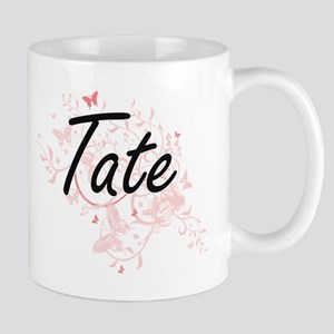 Tate surname artistic design with Butterflies Mugs