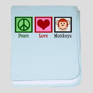 Peace Love Monkeys baby blanket