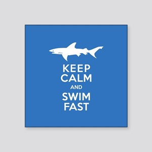 Keep Calm, Swim Fast Shark Alert Sticker