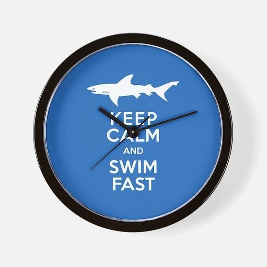 Keep Calm, Swim Fast Shark Alert Wall Clock