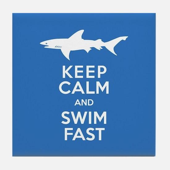 Keep Calm, Swim Fast Shark Alert Tile Coaster