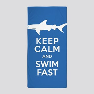 Keep Calm, Swim Fast Shark Alert Beach Towel