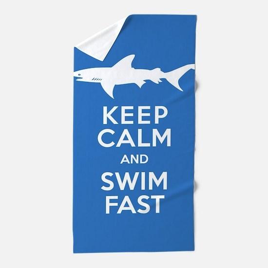 Keep Calm, Swim Fast Shark Alert Beach Towel