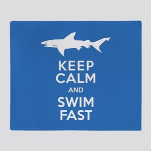 Keep Calm, Swim Fast Shark Alert Throw Blanket