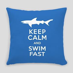 Keep Calm, Swim Fast Shark Alert Everyday Pillow