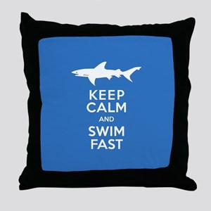 Keep Calm, Swim Fast Shark Alert Throw Pillow