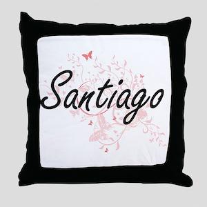 Santiago surname artistic design with Throw Pillow
