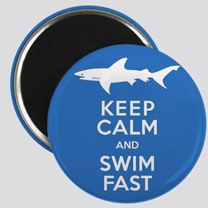 Keep Calm, Swim Fast Shark Alert Magnets