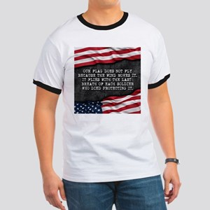 Patriotic quote. Our flag waves because... T-Shirt