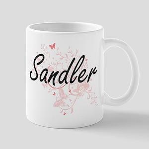 Sandler surname artistic design with Butterfl Mugs