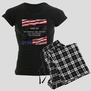 Patriotic quote. Thank you v Women's Dark Pajamas