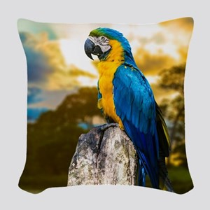Beautiful Blue And Yellow Parrot Woven Throw Pillo