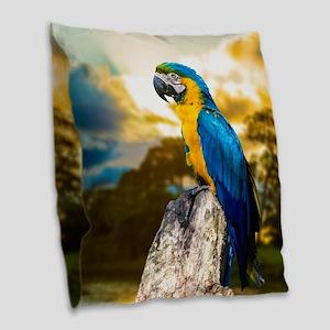 Beautiful Blue And Yellow Parrot Burlap Throw Pill