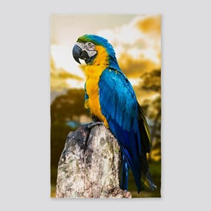 Beautiful Blue And Yellow Parrot Area Rug