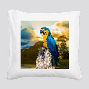 Beautiful Blue And Yellow Parrot Square Canvas Pil
