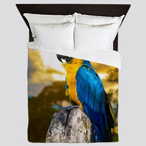 Beautiful Blue And Yellow Parrot Queen Duvet