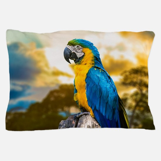 Beautiful Blue And Yellow Parrot Pillow Case