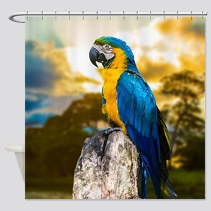 Beautiful Blue And Yellow Parrot Shower Curtain