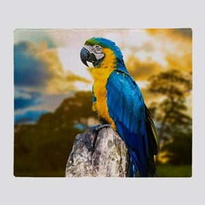 Beautiful Blue And Yellow Parrot Throw Blanket