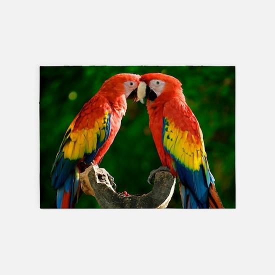 Beautiful Parrots 5'x7'Area Rug