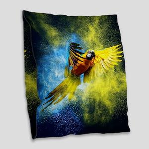 Beautiful Parrot Burlap Throw Pillow