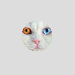 Odd-Eyed White Cat Mini Button