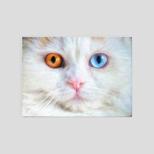 Odd-Eyed White Cat 5'x7'Area Rug