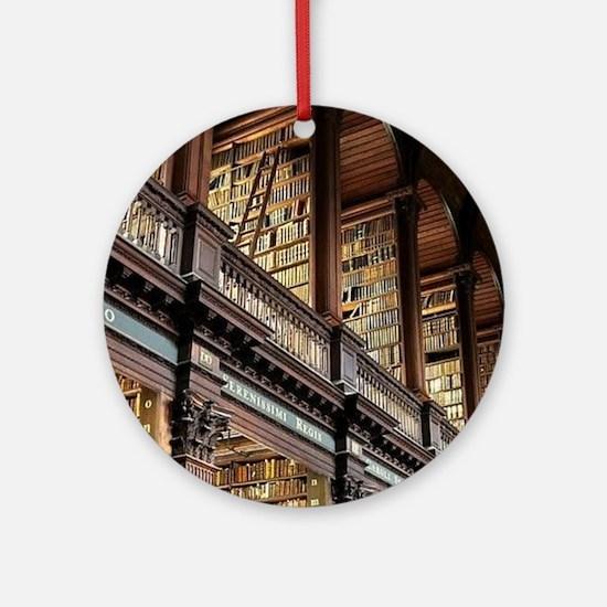 Unique Library books Round Ornament