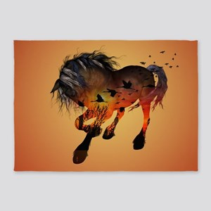 Awesome horse in the sunset 5'x7'Area Rug