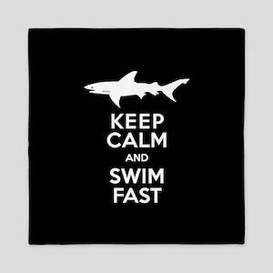 Sharks - Keep Calm, Swim Fast Queen Duvet