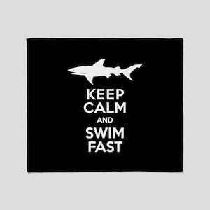 Sharks - Keep Calm, Swim Fast Throw Blanket