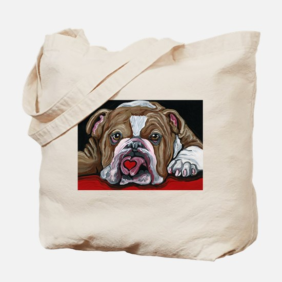 English Bulldog Valentine Tote Bag