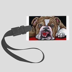 English Bulldog Valentine Large Luggage Tag