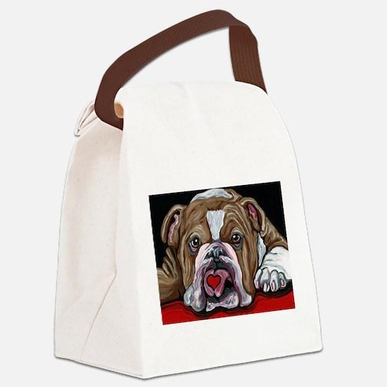 English Bulldog Valentine Canvas Lunch Bag