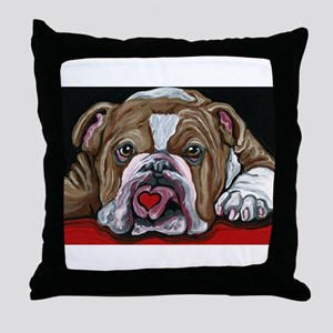 English Bulldog Valentine Throw Pillow