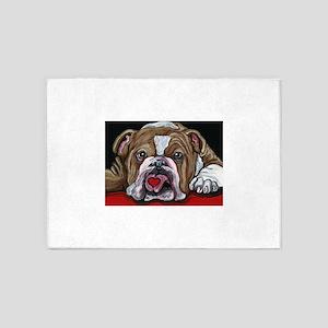 English Bulldog Valentine 5'x7'Area Rug