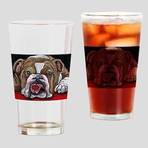 English Bulldog Valentine Drinking Glass
