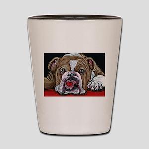 English Bulldog Valentine Shot Glass