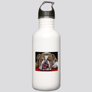 English Bulldog Valentine Water Bottle