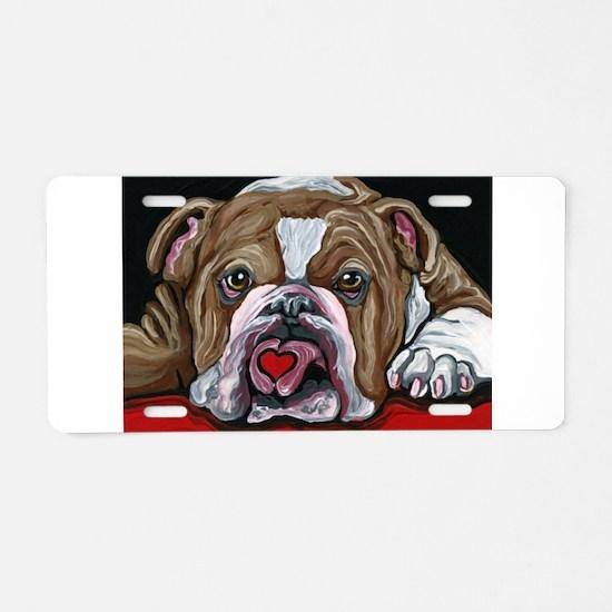 English Bulldog Valentine Aluminum License Plate