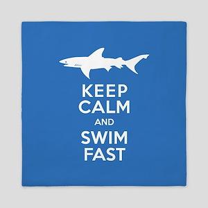 Keep Calm, Swim Fast Shark Alert Queen Duvet