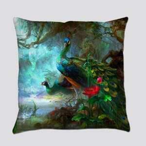 Beautiful Peacocks In Garden Everyday Pillow