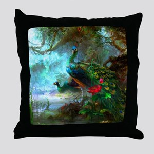 Beautiful Peacocks In Garden Throw Pillow
