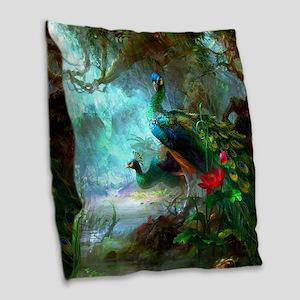 Beautiful Peacocks In Garden Burlap Throw Pillow