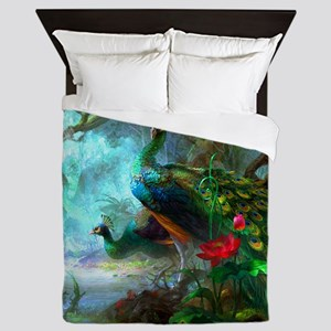 Beautiful Peacocks In Garden Queen Duvet