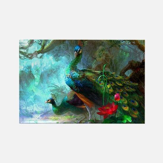 Beautiful Peacocks In Garden Magnets