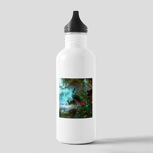 Beautiful Peacocks In Garden Sports Water Bottle