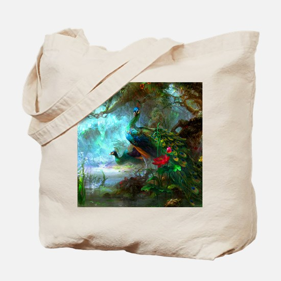Beautiful Peacocks In Garden Tote Bag